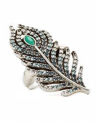 Lucky Brand - Blue Peacock Pave Feather Ring - Lyst