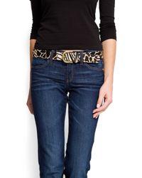 Mango | Black Leather Leopard Print Belt | Lyst