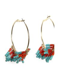 Mango - Blue Coloured Long Earrings - Lyst