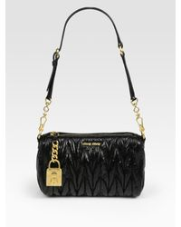 Miu Miu | Black Matelasse Lux Shoulder Bag | Lyst