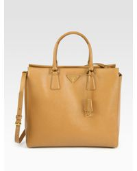 Prada | Natural Saffiano Lux North-to-south Tote Bag | Lyst