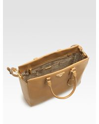 Prada - Natural Saffiano Lux North-to-south Tote Bag - Lyst