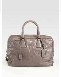 Prada | Gray Nappa Antique Zip Top Bag | Lyst