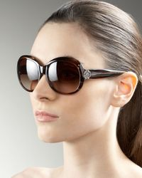 Roberto Cavalli - Brown Crystal Logo Sunglasses - Lyst
