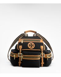 Tory Burch | Black Nylon Logo Backpack | Lyst