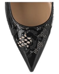 Valentino - Black Lace-effect Patent-leather Pumps - Lyst