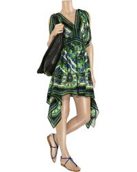 Anna Sui - Green Floral-print Silk Dress - Lyst