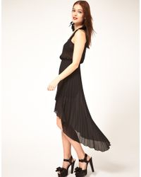 ASOS Collection - Black Asos Midi Dress With Pleated Skirt - Lyst