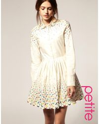 ASOS Collection | Natural Asos Petite Fit and Flare Dress with Embroidered Spot | Lyst