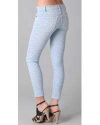 Current/Elliott - Blue The Stiletto Leopard-print Low-rise Skinny Jeans - Lyst