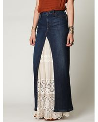 Free People | Blue Chloe Denim Maxi Slit Skirt | Lyst