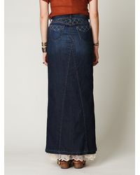Free People - Blue Chloe Denim Maxi Slit Skirt - Lyst