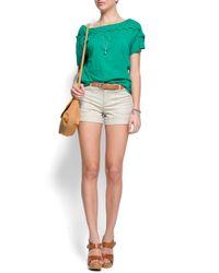 Mango - Green Braid Details T-shirt - Lyst