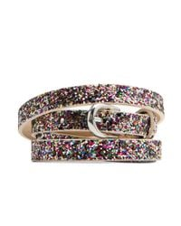 Mango | Metallic Glitter Thin Belt | Lyst