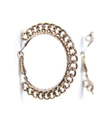 Mango - Metallic Chain Hoop Earrings - Lyst