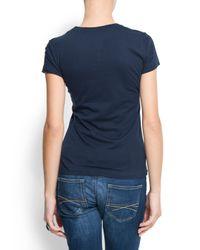 Mango - Blue Cotton Basic T-shirt - Lyst