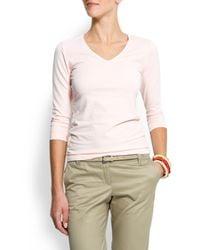 Mango | Pink Three Quarter Sleeves Cotton T-shirt | Lyst