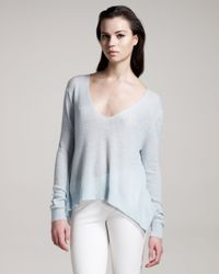 The Row - Blue Cashmere-blend V-neck Sweater - Lyst