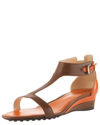 TOMS - Brown T-strap Low-wedge Sandal - Lyst