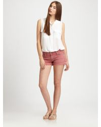 7 For All Mankind | Pink Let Down Hem Cutoff Shorts | Lyst