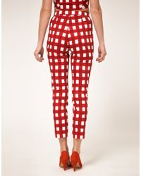 ASOS Collection | Red Gingham Trousers | Lyst