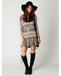Free People | Gray Fairisle Babydoll Top | Lyst