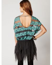 Free People - Blue County Fair Banded Bottom Lace Top - Lyst