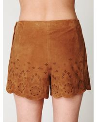 Free People | Brown Suede Charade Short | Lyst