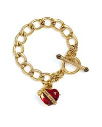 Juicy Couture | Red Crystal Clear Couture Heart Starter Bracelet | Lyst