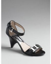 MICHAEL Michael Kors - Greta - Black Leather Sandal - Lyst