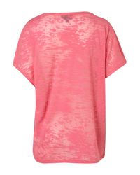 TOPSHOP - Pink Short Sleeve Burn Out Tee - Lyst