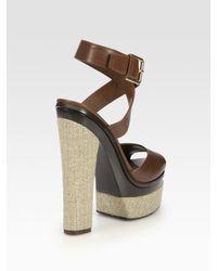 Saint Laurent - Brown Leather and Hemp Platform Sandals - Lyst