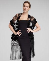 Valentino | Rosette Lace Shawl, Black | Lyst