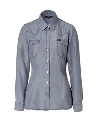 7 For All Mankind | Metallic Silver Grey Western Shirt | Lyst