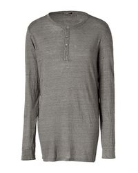 Balmain | Gray Taupe Mélange L/s Linen T-shirt for Men | Lyst