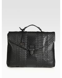 Bottega Veneta | Black Leather Briefcase for Men | Lyst