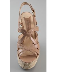 Boutique 9 - Natural Flower Strappy Wedge Sandal - Lyst