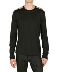 Burberry Brit | Black Long Sleeves Check Shoulder Polo for Men | Lyst