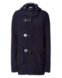 Burberry Brit | Blue Darwin Ink Hooded Knit Coat for Men | Lyst
