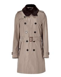 Burberry - Natural Newington Dark Mushroom Trench Coat with Removable Fur for Men - Lyst