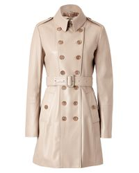 Burberry - Natural Nude Trench Style Leather Coat - Lyst