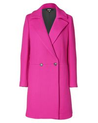 DKNY | Pink Fuchsia Wool Blend Coat | Lyst