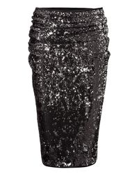 Donna Karan - Black and Silver Sequin Skirt - Lyst