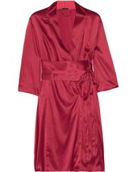 Elle Macpherson | Red So Pretty It Hurts Stretch-Satin Robe | Lyst