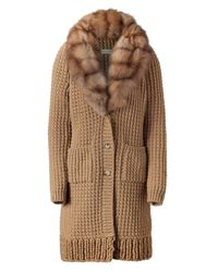 Ermanno Scervino | Brown Camel Knitted Coat with Fur Collar | Lyst