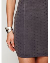 Free People | Gray Stretch Eyelet Bodycon | Lyst