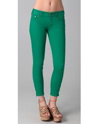 Free People | Green Ankle Zipper Skinny Jeans | Lyst
