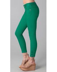 Free People - Green Ankle Zipper Skinny Jeans - Lyst
