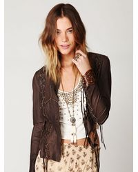 Free People | Brown Lace Up Leather Jacket | Lyst