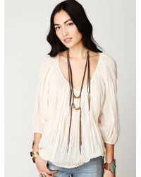 Free People - White Fp One City Peasant Blouse - Lyst